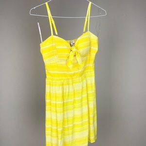 AUW Yellow and White Striped Knee-Length Dress